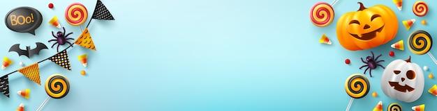 Banner de halloween com uma linda abóbora de halloween, morcego, aranha e doces em azul claro