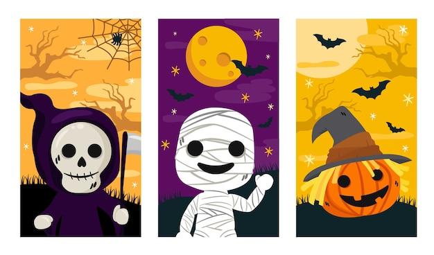 Banner de halloween, conjunto de história do instagram