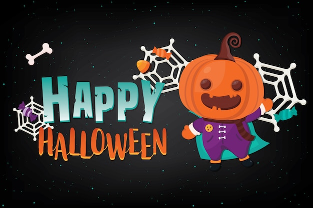 Banner de halloween de ilustração com decoração no escuro
