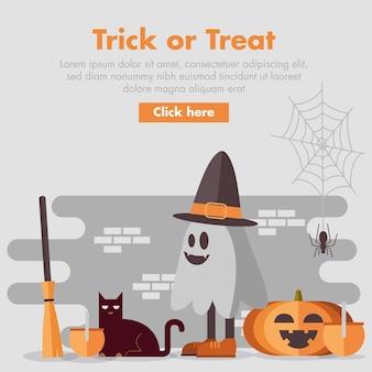 Banner de halloween design plano