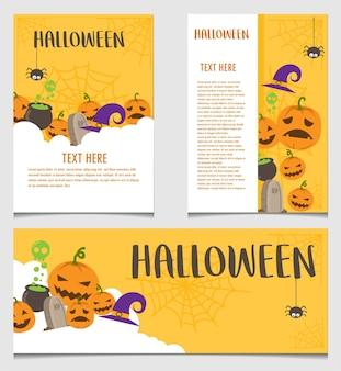 Banner de halloween e modelo de vetor de cartaz