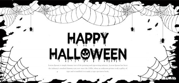 Banner de halloween em aquarela
