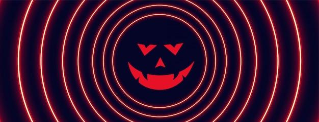 Banner de halloween estilo néon com cara de fantasma