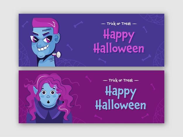 Banner de halloween feliz ou design de cabeçalho com zumbi, vampira feminina ou bruxa em duas opções de cores.