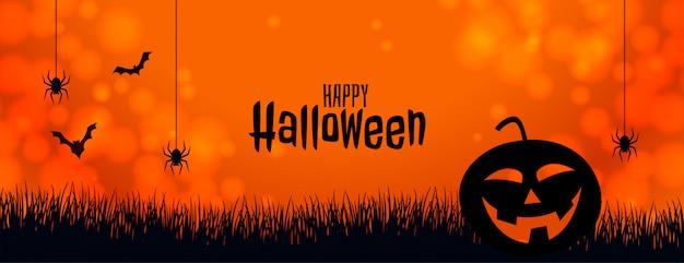 Banner de halloween laranja com abóbora aranha e morcegos