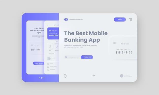 Banner de herói de aplicativo de banco móvel ou página inicial na cor branca e azul.