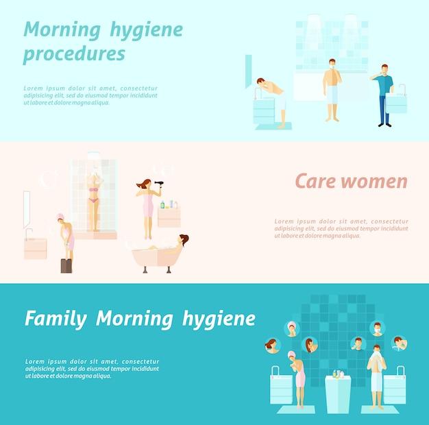 Banner de higiene de família e mulher de manhã