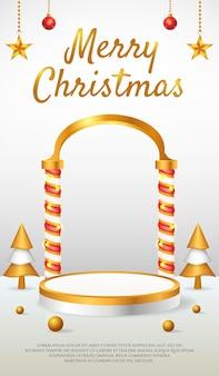 Banner de história de instagram em mídia social com exibição de produto em 3d no pódio dourado de natal e ano novo