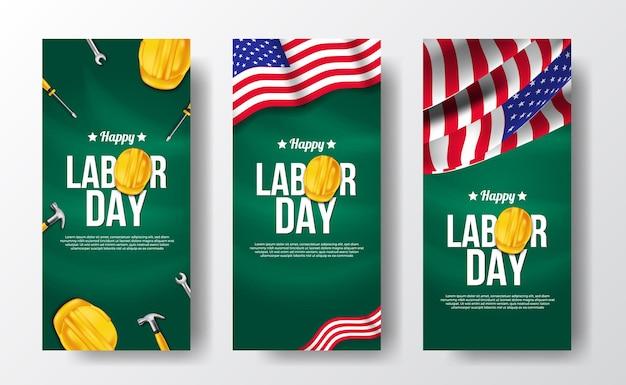 Banner de histórias de mídia social para o dia do trabalho com trabalhador de capacete de segurança amarelo 3d com a bandeira do dia da independência americana Vetor Premium