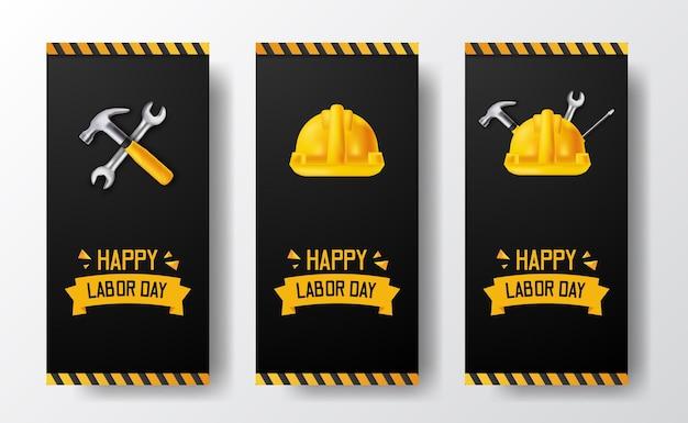 Banner de histórias de mídia social para o dia do trabalho com trabalhador de capacete de segurança amarelo 3d, martelo, chave inglesa, com linha amarela