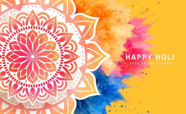 Banner de holi feliz com pó colorido explodido e desenho de rangoli, ilustração 3d