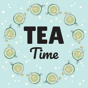 Banner de hora do chá com xícaras de chá verde