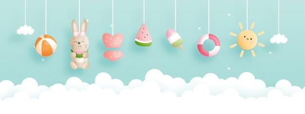 Banner de horário de verão com coelho bonito e coleção de verão.