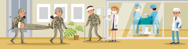 Banner de hospital militar com soldados carregando feridos em macas médicos e cirurgia