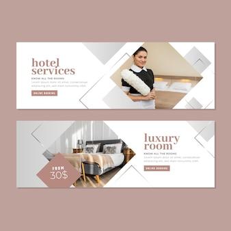 Banner de hotel em gradiente com foto