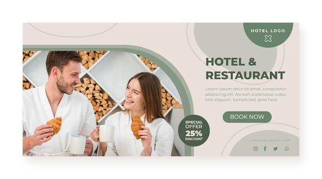 Banner de hotel plano orgânico com foto