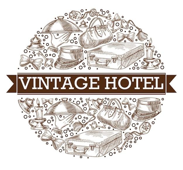 Banner de hotel retrô ou vintage em círculo, esboços de contorno monocromático isolados de símbolos. chapéus e bagagem, pratos em pratos, malas e laços. chaves e luzes de velas. vetor em estilo simples