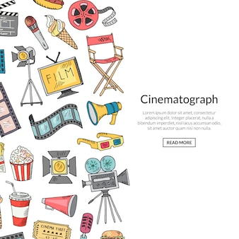 Banner de ícones de doodle de cinema