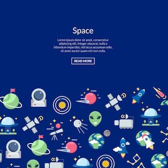Banner de ícones de espaço plano