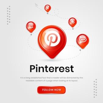 Banner de ícones de mídia social no pinterest