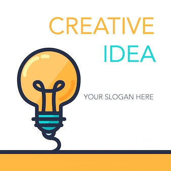 Banner de idéia simples sucesso criativo. símbolo de inovação.