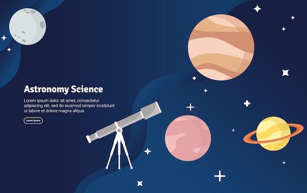 Banner de ilustração científica conceito de ciência de astronomia
