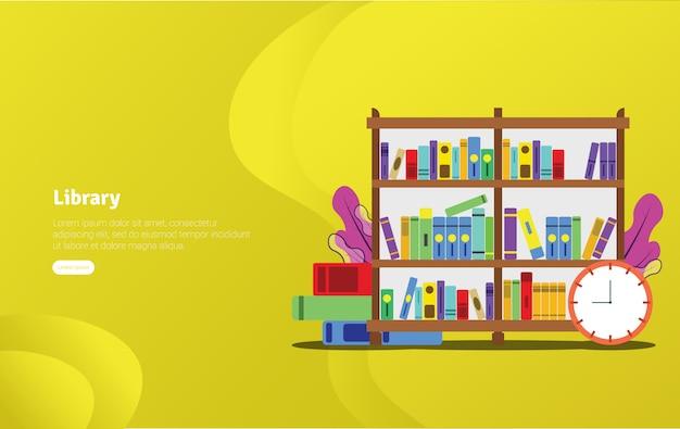Banner de ilustração de biblioteca de universidade