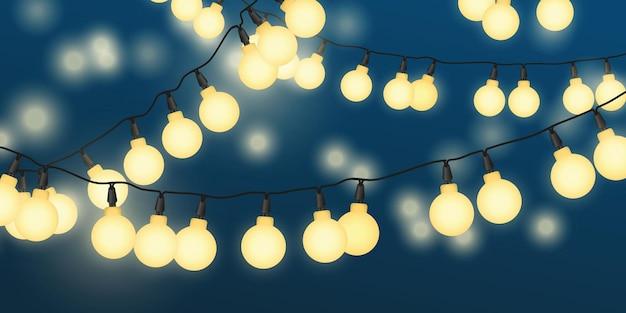 Banner de ilustração de luzes de corda na noite