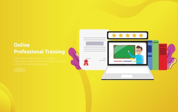 Banner de ilustração de treinamento profissional on-line