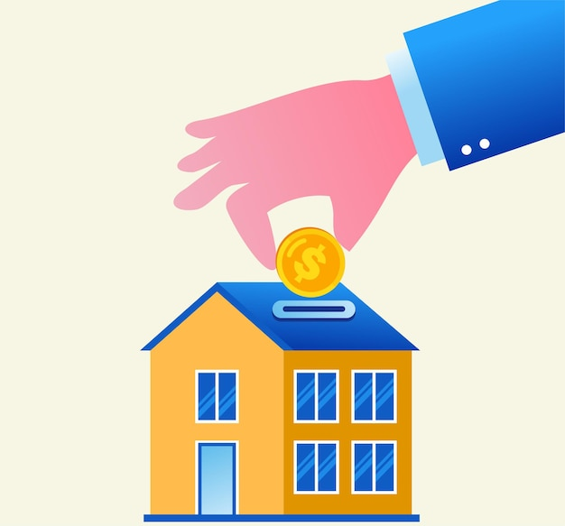 Banner de ilustração de vetor plano e página de destino de investimento imobiliário e conceito de desenvolvedor