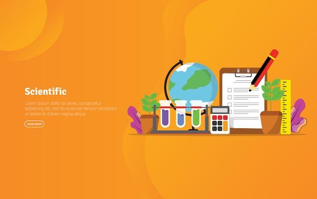 Banner de ilustração educacional conceito científico