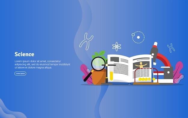 Banner de ilustração educacional conceito de ciência