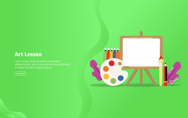 Banner de ilustração educacional conceito de lição de arte
