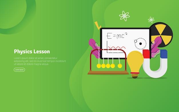 Banner de ilustração educacional de conceito de lição de física