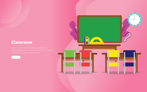 Banner de ilustração educacional do conceito de classsroom