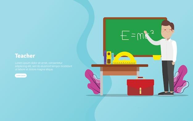 Banner de ilustração educacional do conceito de professor