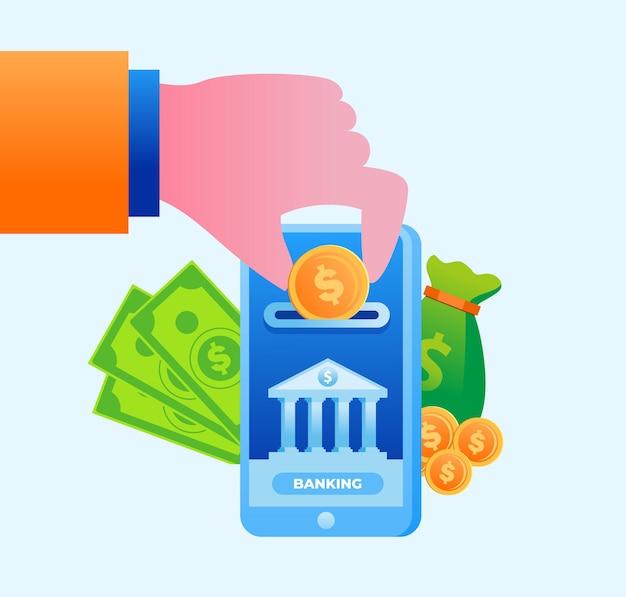 Banner de ilustração vetorial plana de tecnologia de banco on-line