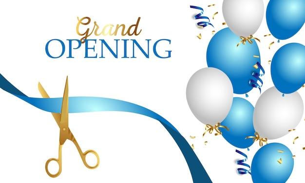 Banner de inauguração com fita, balões e tesouras de ouro, confetes.