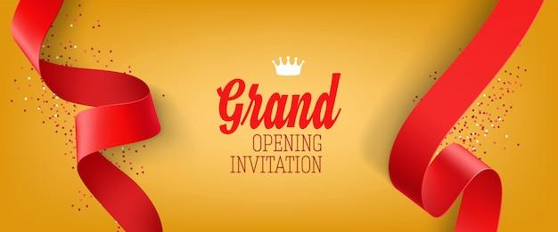 Banner de inauguração convite amarelo com fita vermelha