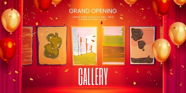 Banner de inauguração da galeria de arte