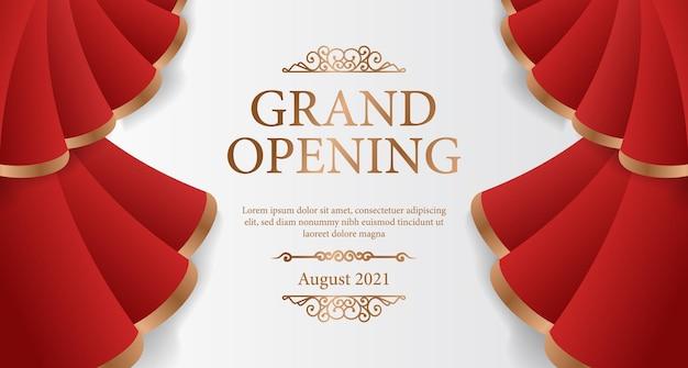 Banner de inauguração elegante de luxo com cortinas de seda vermelha