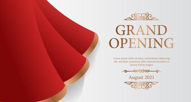 Banner de inauguração elegante e luxuoso com cortina de seda vermelha ondulada