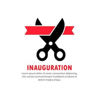 Banner de inauguração. uma tesoura corta a fita. vetor em fundo branco isolado. eps 10.