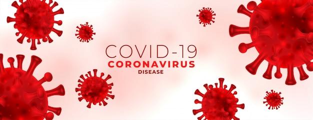 Banner de infecção por coronavírus com eritrócitos de vírus