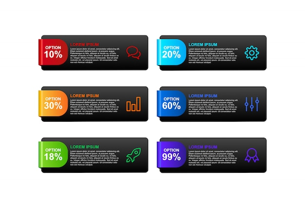 Banner de infográfico 3d com modelo de design de opções