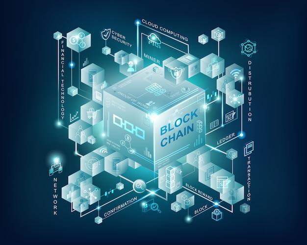 Banner de infográfico de tecnologia blockchain com fundo azul escuro