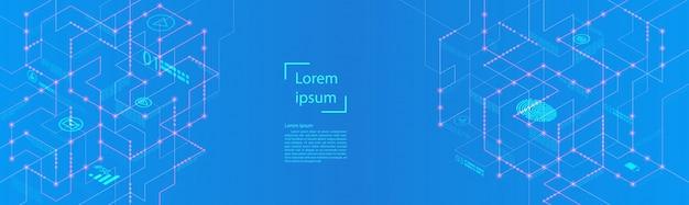 Banner de infográfico futurista de grande fluxo de dados