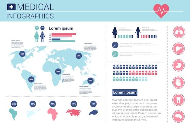 Banner de informações de infográficos de medicina de saúde com espaço de cópia