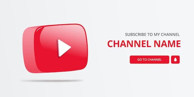 Banner de inscrição de canal do youtube com logotipo 3d do youtube