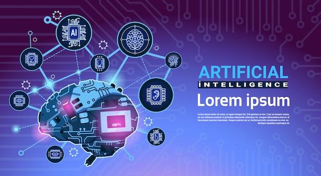 Banner de inteligência artificial com roda dentada de cérebro de cyber e engrenagens sobre fundo de placa-mãe